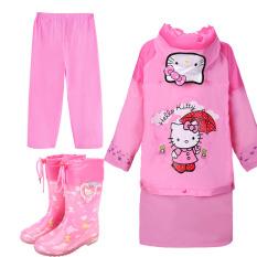HELLO KITTY Jas Hujan Children Sepatu Bot Hujan Sayang Lebih Tebal Non-slip (Kt Kucing Tas sedikit Jas Hujan + Celana + Sepatu Bot Hujan + Kapas Tumpang Sari)