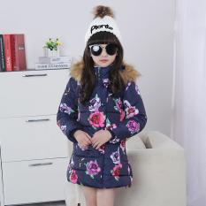 Sayang Musim Dingin Musim Dingin Yang Hangat Anak Perempuan Siswa Sekolah Dasar Pakaian Katun Gadis Baju Katun Jas (Biru tua [Corak Bunga Baju Katun])