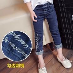 Sayang Musim Gugur atau Musim Dingin Pakaian Anak-Anak Korea Modis Gaya Celana Pensil Gadis Jeans (Biru Bordir jeans)