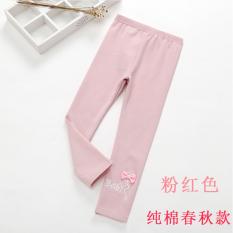 Sayang Musim Semi Baru Anak Perempuan Pakaian Luar Keelastikan Celana Cargo Gadis Legging (Merah Muda)
