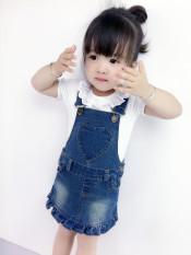 Jual Sayang Musim Semi Dan Musim Panas Anak Anak Anak Dress Tanpa Lengan Gadis Koboi Tali Rok Cinta Overall Lengan Pendek T Shirt Satu Set Baru