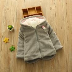 2018 Pakaian Musim Dingin Model Baru Anak Prempuan Jaket Anak-anak Tambah Beludru Kuping Kelinci