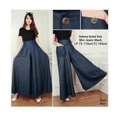 Sb Colection Celana Panjang Selena Rok Kulot Jumbo Jeans Biru Tua Diskon Banten