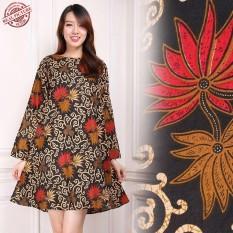 Toko Sb Collection Atasan Adelina Tunik Blouse Kemeja Batik Wanita Coklat Lengkap Di Banten