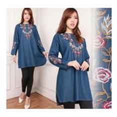 SB Collection Atasan Blouse Adela Kemeja Tunik Jeans Jumbo Wanita