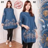 Toko Sb Collection Atasan Blouse Suket Tunik Jeans Kemeja Bordir Biru Tua 01 Online Banten