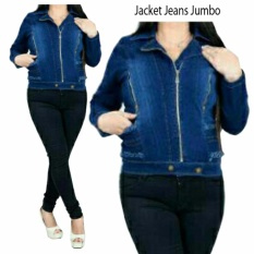 Jual Sb Collection Atasan Jacket Jumbo Outer Jeans Biru Tua Branded