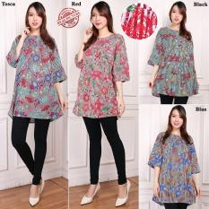 Harga Sb Collection Atasan Marina Blouse Jumbo Bunga Kemeja Wanita Biru Sb Collection Online