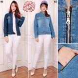 Sb Collection Atasan Outer Carrissa Jacket Jeans Wanita Biru Tua Terbaru