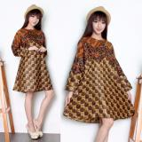 Sb Collection Atasan Tunik Sari Blouse Kemeja Wanita Batik Coklat Mix Original