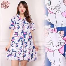 SB Collection Baju Tidur Kupukupu Daster Midi Dress Import-Biru