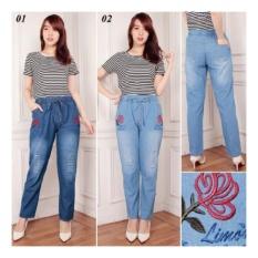 Toko Sb Collection Celana Jeans Flova Pant Bordir Biru Tua Terlengkap Banten