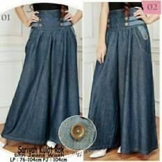Beli Sb Collection Celana Kulot Duobutton Jumbo Long Pant Biru Tua Murah