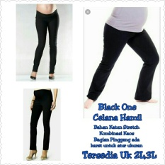 168 Collection Celana Hamil Black One Long Pant-Hitam