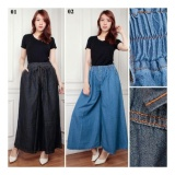 Obral Sb Collection Celana Kulot Naffari Jeans Jumbo Long Pant Hitam Murah