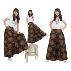SB Collection Celana Kulot Rok Batik Pad Wide Jumbo Long Pant-Coklat