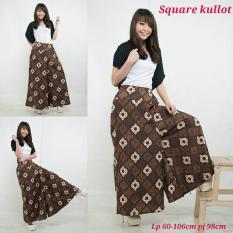 SB Collection Celana Kulot Rok Batik Square Wide Jumbo Long Pant-Coklat