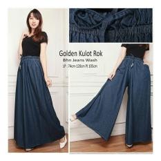 Obral Sb Collection Celana Kulot Rok Golden Jumbo Jeans Long Pant Biru Tua Murah