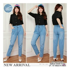 Sb Collection Celana Panjang Dheena Long Pant Jeans Sobek Furing Biru Muda Sb Collection Murah Di Banten