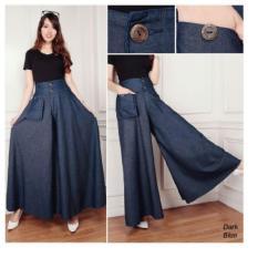 Review Terbaik Sb Collection Celana Panjang Rok Kulot Jumbo Jeans Samirah Biru Tua