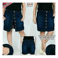 Spesifikasi Sb Collection Celana Rok Fullbutton Hot Pant Jeans Jumbo Biru Tua Murah Berkualitas