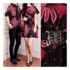 SB collection Couple Batik Laura Dress dan Kemeja Sarimpit-Merah Motif Padi