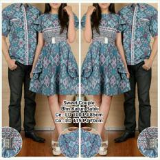 Jual Sb Collection Couple Batik Sweet Dress Dan Kemeja Sarimpit Abu Lengkap