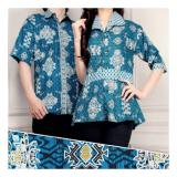 Toko Sb Collection Couple Risti Batik Atasan Blouse Rample Dan Kemeja Sarimpit Biru Sb Collection Indonesia
