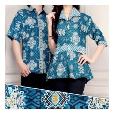 Harga Sb Collection Couple Risti Batik Atasan Blouse Rample Dan Kemeja Sarimpit Biru Merk Sb Collection