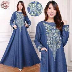 SB Collection Dress Maxi Eva Gamis Jeans Longdress Jumbo Wanita