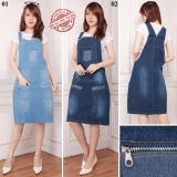 Toko Sb Collection Dress Midi Nani Jeans Jumbo Overall Biru Tua Online Terpercaya