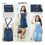 Promo Sb Collection Dress Midi Nikita Overall Jeans Biru Tua Sb Collection