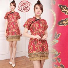 SB collection dress midi Red zhu cheongsam batik - Merah
