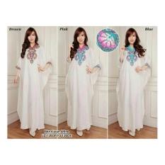 SB Collection Kaftan Cinta Gamis Jumbo Maxi Dress Bordir-02 Kerah Pink