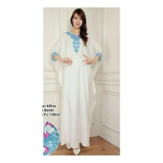 SB Collection Kaftan Snowy Gamis Jumbo Maxi Dress Bordir-Putih