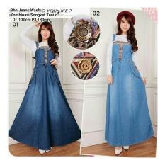 SB Collection Maxi Dress Adeline Overall Jeans Gamis-Biru Tua