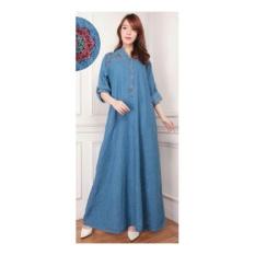 Review Sb Collection Maxi Dress Andrea Jeans Jumbo Gamis Bordir Biru Muda Sb Collection