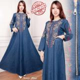 Toko Sb Collection Maxi Dress Annisa Gamis Jeans Kaftan Bordir Biru Tua Sb Collection Banten