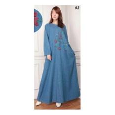 Sb collection Maxi dress Cleo Jeans Jumbo gamis bordir-Biru Muda