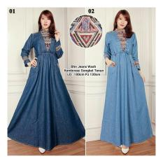 Spesifikasi Sb Collection Maxi Dress Laila Gamis Jeans Songket Biru Muda Paling Bagus