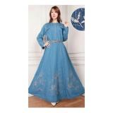 Toko Sb Collection Maxi Dress Wulan Jeans Jumbo Gamis Bordir Biru Muda Terdekat