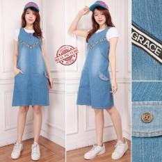 SB Collection Midi Dress Nasira Overall Jeans Wanita