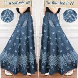 Jual Sb Collection Rok Maxi Jasmira Payung Jeans Long Skirt Biru Tua Indonesia Murah