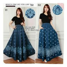 Spesifikasi Sb Collection Rok Maxi Trina Jeans Long Skirt 01 Biru Tua