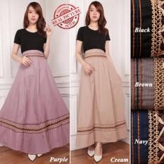 SB Collection Rok Payung Lorent Maxi Panjang Longskirt Jumbo Wanita - Hitam