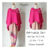 Promo Sb Collection Stelan Kebaya Batik Nicka Jumbo Blouse Kalong Dan Rok Lilit Magenta