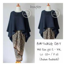 Jual Sb Collection Stelan Kebaya Batik Nicka Jumbo Blouse Kalong Dan Rok Lilit Navi Termurah