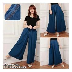 Kualitas Sb Collecton Celana Kulot Velia Jumbo Jeans Long Pant Biru Tua Sb Collection
