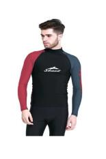 Beli Sbart Men Menyelam Suit Tops Upf50 Rashguard Lengan Panjang Berenang Swimwear Pakaian Surfing Snorkeling Windsurf Olahraga Wetsuit Hitam Merah Pakai Kartu Kredit