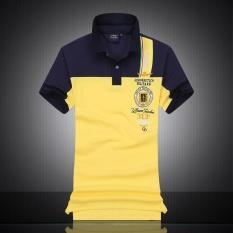 SDP Merek Gaya Baru Pria Polo Kemeja Air Force One Lengan Pendek Polos Pria Top Tee Pria Fashion T-shirt (kuning) -Intl